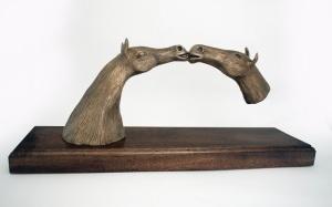 Horses Kissing (reproduction printing image)_detail